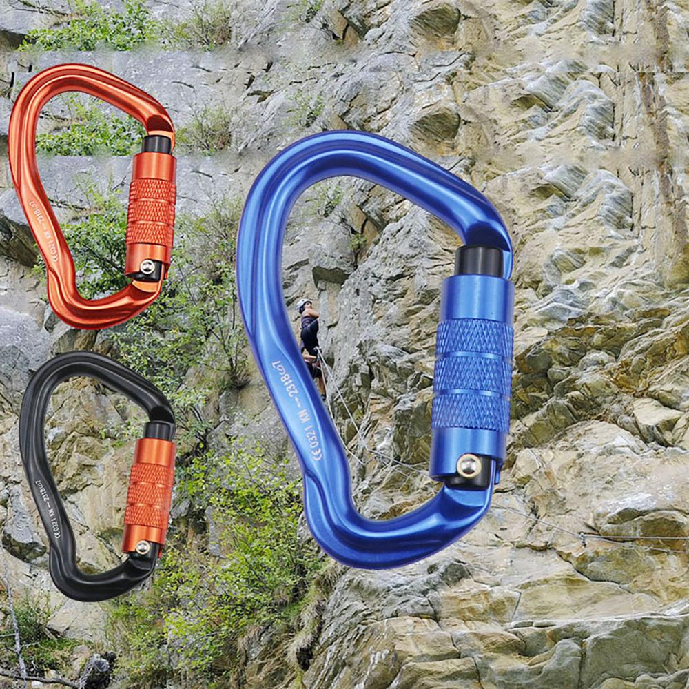 23/25KN Outdoor Rock Climbing Security Safety Buckle Carabiners Hook Master Lock