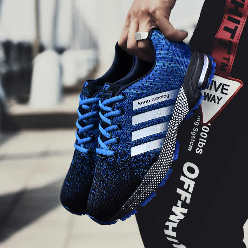 Açık kadınlar nefes hava yastığı tenis ayakkabıları örgü çift spor atletik eğitmen Hombre orta (B, M) nefes Sneakers
