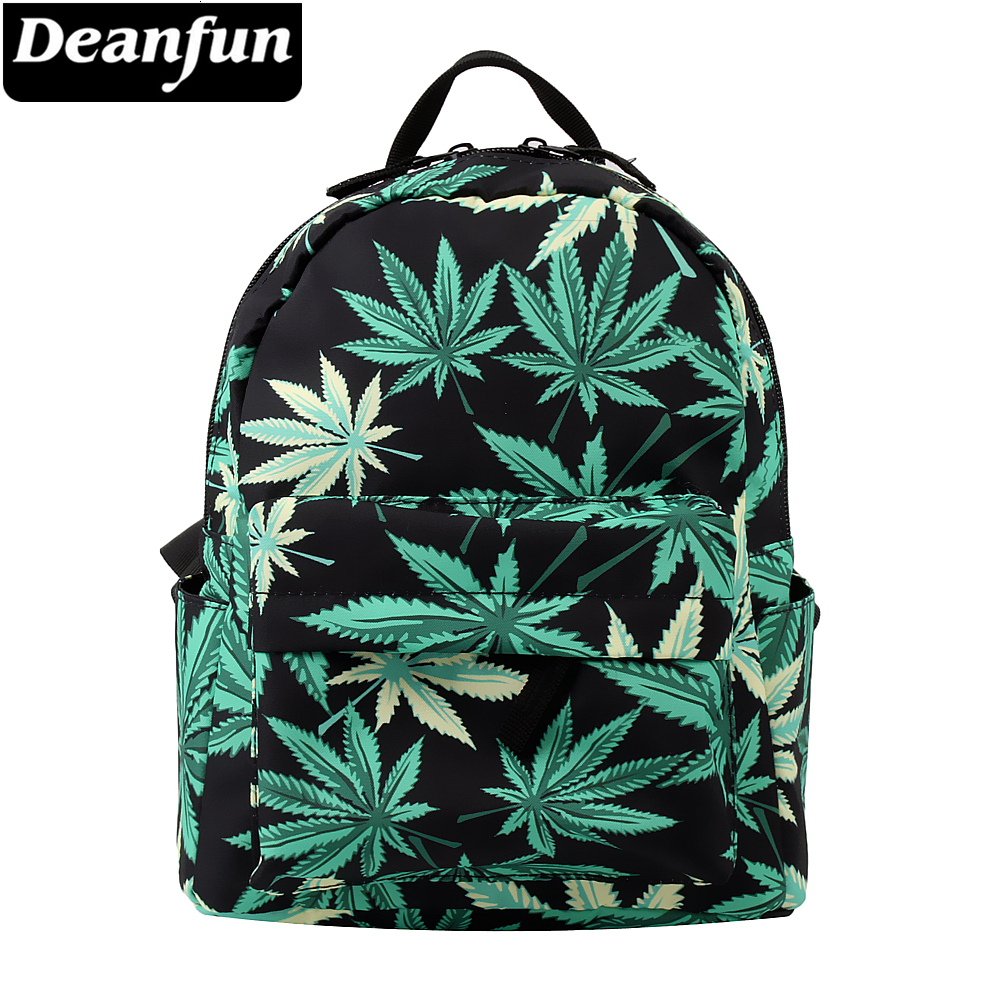 Deanfun Mini Backpack 3D Printed Green Hemp Fashion Waterproof Backpack Women Shopping Bag For Teenage Girls MNSB-7