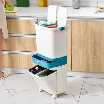 3 Layer Classification Trash Can Kitchen Plastic Dustbin Wet and Dry Press Button Recycle Stacked Sorting Rubbish Bin With Wheel