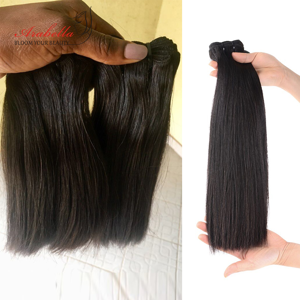 Super Double Drawn Straight Hair Bundles With 13*4 Lace Frontal Arabella Vrigin Hair 100%   Bundles 3