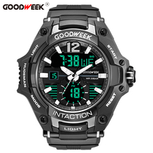 GOODWEEK Military Man Sport Watch Waterproof Analog Digital Quartz Watches Dual Display Watches Male Relogios Masculino smael camouflage military watch men waterproof dual time display mens sport wristwatch digital analog quartz watches male clock