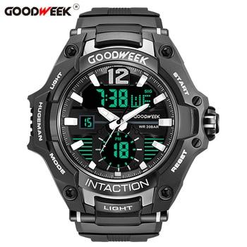 цена на GOODWEEK Military Man Sport Watch Waterproof Analog Digital Quartz Watches Dual Display Watches Male Relogios Masculino