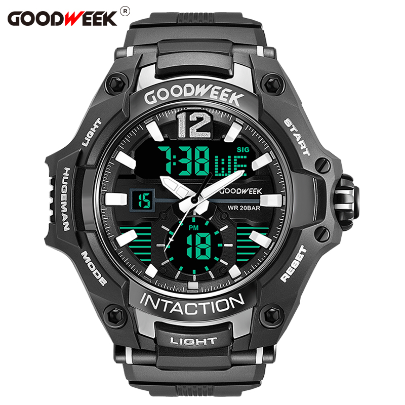 GOODWEEK Military Man Sport Watch Waterproof Analog Digital Quartz Watches Dual Display Watches Male Relogios Masculino