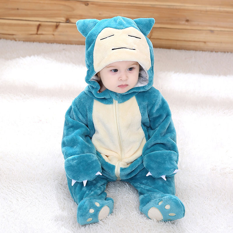 Baby Snorlax Cosplay Costume Infant Warm Cute Clothes Flannel Soft Kigurumis Overall Zipper  Onesie Boy Girl Suit Cartoon Outfit