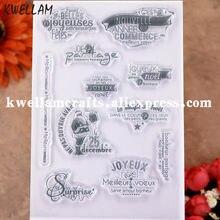 Joyeux père noël français Scrapbook, cartes photo, tampons en caoutchouc transparent, KW9112840