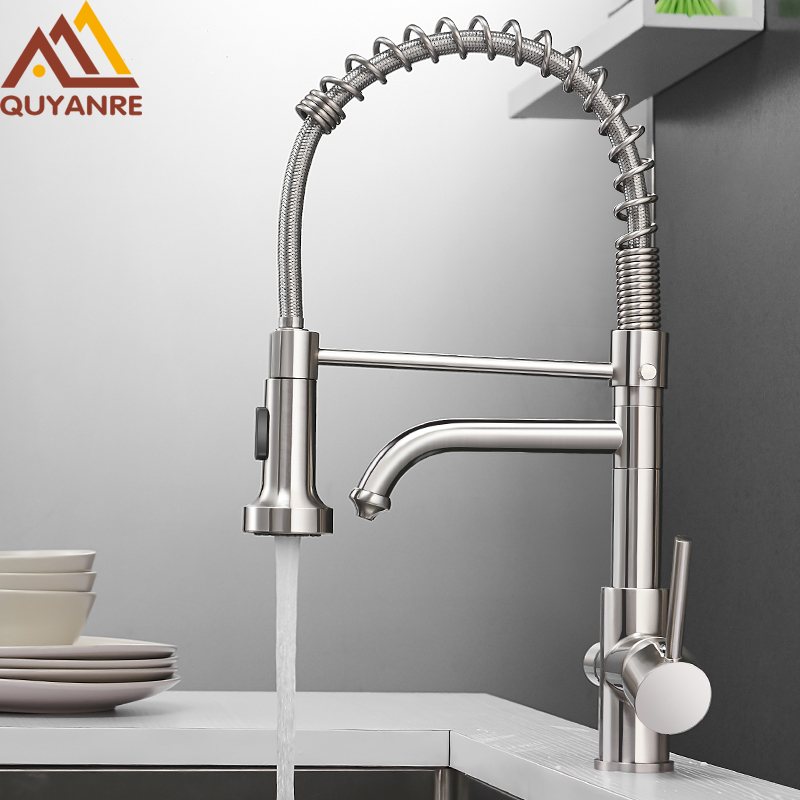 Quyanre Kitchen Filtered Faucet Water Tap Brass Purifier Faucet Dual Sprayer Drinking Water Tap Vessel Sink Mixer Tap Torneira