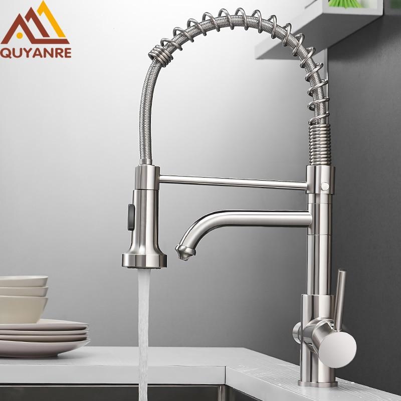 Quyanre Kitchen Filtered Faucet Water Tap Brass Purifier Faucet Dual Sprayer Drinking Water Tap Vessel Sink Mixer Tap Torneira