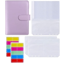 18Pcs A6 PU Leather Binder Cover with 6 Ring Binder Pockets Envelopes for Cash Budget System Documents Cards