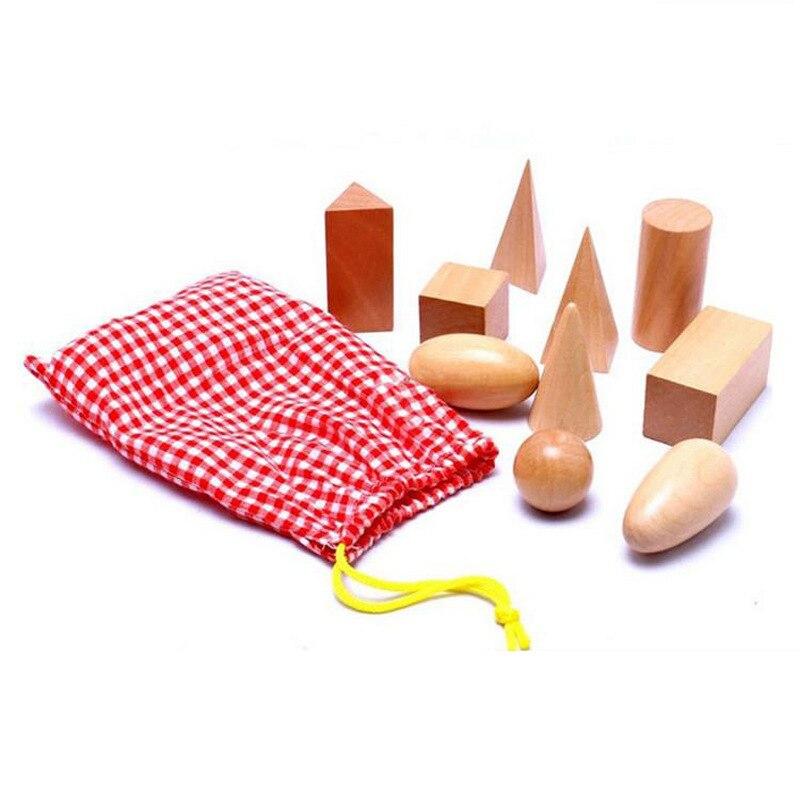 Wooden Geometry Shape Learning Math Teaching Aids Montessori Preschool Children Early Education Building Blocks Educational Toys