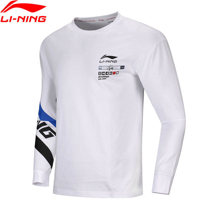Li-Ning Men The Trend Long Sleeve Tee 100%Cotton Regular Fit LiNing Li Ning Comfort Sports Sweatshirts Pullovers AHSQ017 MTL1057