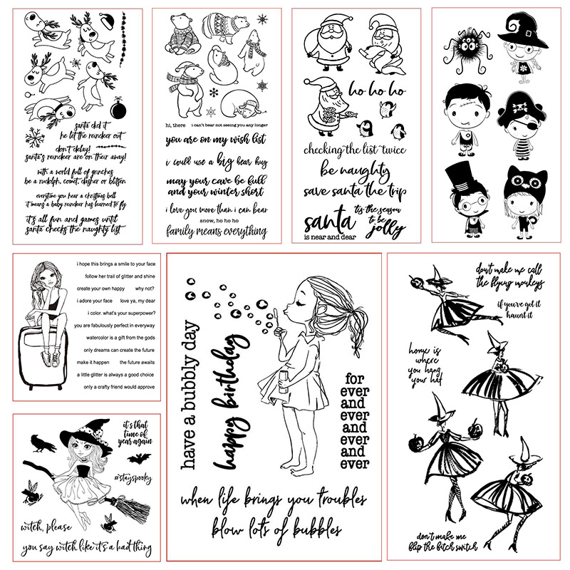 Christmas Halloween Girl Animal Clear Stamps For Scrapbooking Card Making Silicone Craft Stamps Transparent New 2019