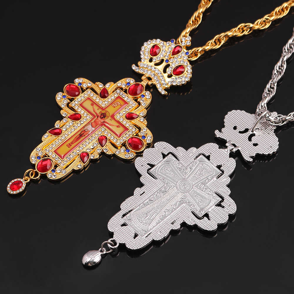 Terbaru Ortodoks Pectoral Cross Kalung Emas/Perak Berlapis Perhiasan dengan Rusia Tipe Bishop Encolpion Cross untuk Uskup