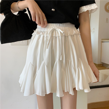 2020 Fashion Korean Skirt High Waist White Black Chiffon Summer Shorts Skirt Women Tutu Pleated Mini Skirt Female 2019 korean version of the new skirt female was thin spring rivet high waist elastic waist black pleated skirt s xxl mini skirt