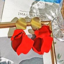 FYUAN Fashion Rose Flower Acrylic Drop Earrings for Women Bijoux Red Blue White Petal Dangle Jewelry Girlfriend Gifts