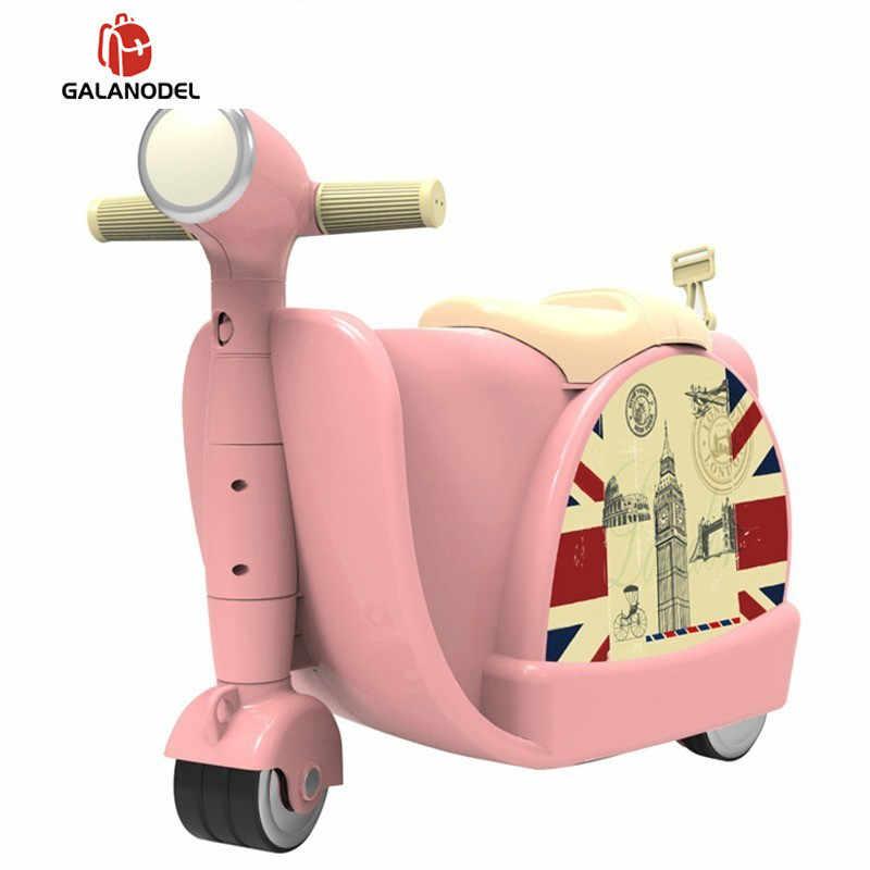Passeio na mala para crianças equitação mala para meninos crianças mala de carro para o bebê crianças viagem trole rolando bagagem sacos