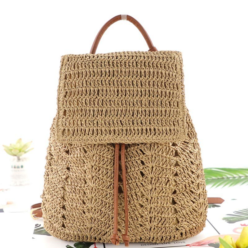 New Multifunctional Shoulder Backpack Straw Bag Fashion Woven Back Pack Beach Casual Female Travel Backpack Gril Bookbag