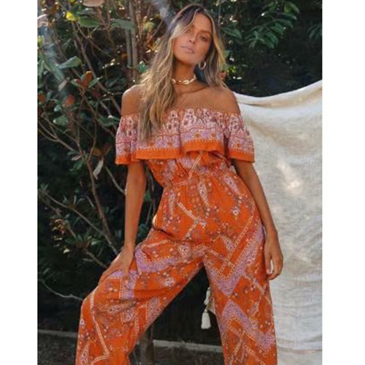 Summer Floral Printed Woman Jumpsuits Sexy Off Shoulder Short Sleeve Vintage Rompers Boho Casual Female Playsuit Overalls 2020