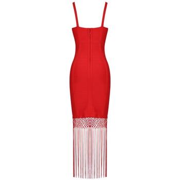 Ocstrade Red Bandage Dress 2020 New Sexy Fringe Tassel Vestidos Bandage Rayon Women Bandage Maxi Dress Celebrity Party Dresses 4