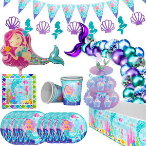 Mermaid Party Table Decor Little Mermaid Decoration Mermaid Tail Number Balloon Under the Sea Girl 1 2 3 Birthday Party Supplies