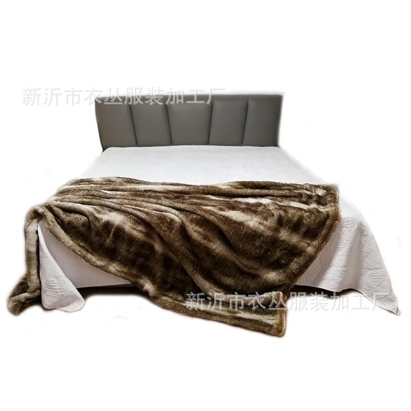 Jet de fausse fourrure de lapin, couvertures pour lit Super doux