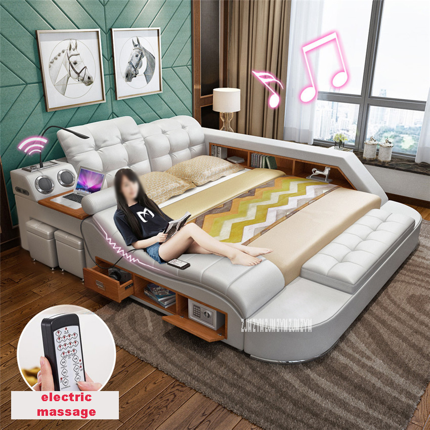 8098 1.8m Double Bed Twin-Bed Cow Leather Soft Bed Massager Modern Multifunctional Tatami Leather Bed With Bluetooth Speaker