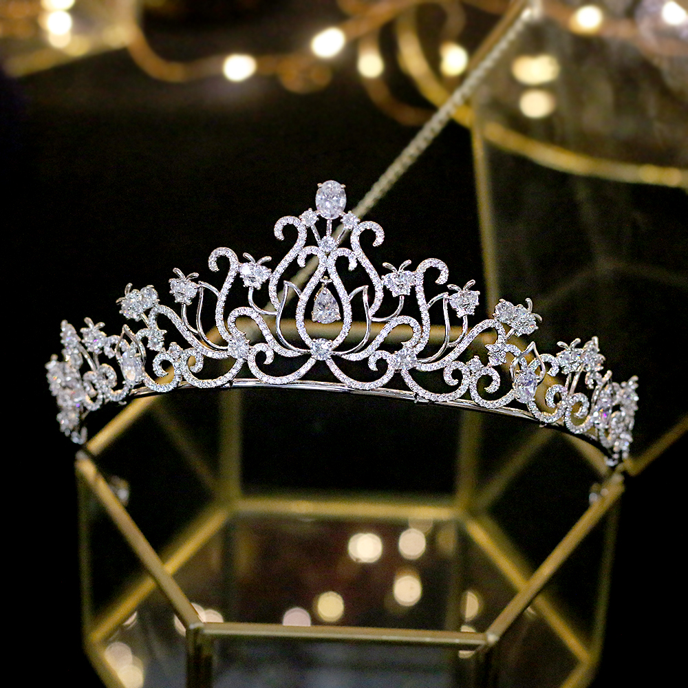 ASNORA CZ Crown Hair-Accessories Jewelry Headdress Wedding Silver Women's Beautiful 3A