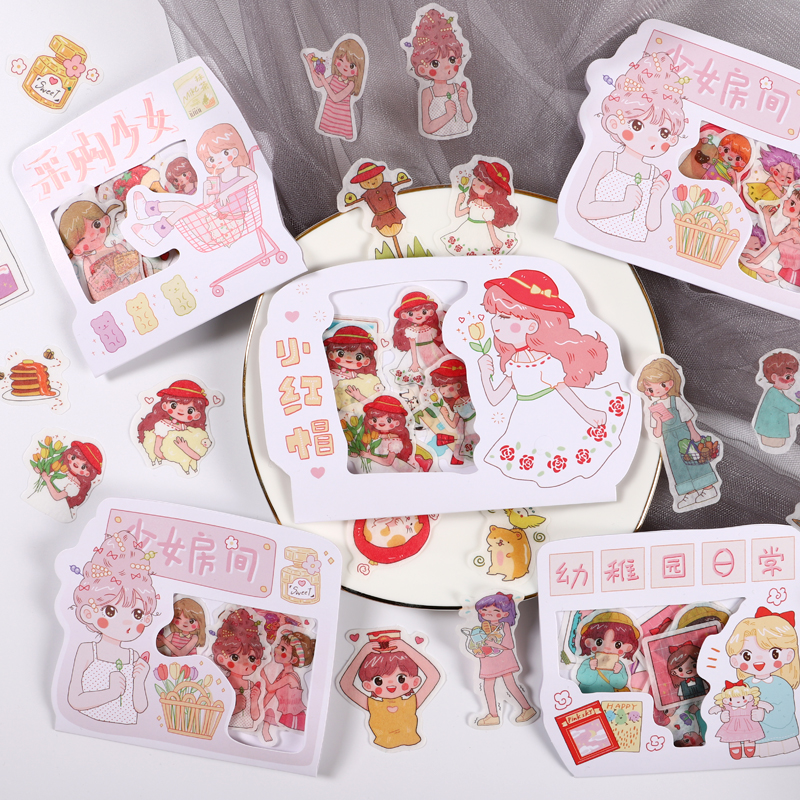 8packs/LOT Little Red Riding Hood Series Creative Decoration DIY Masking Washi Paper Stickers