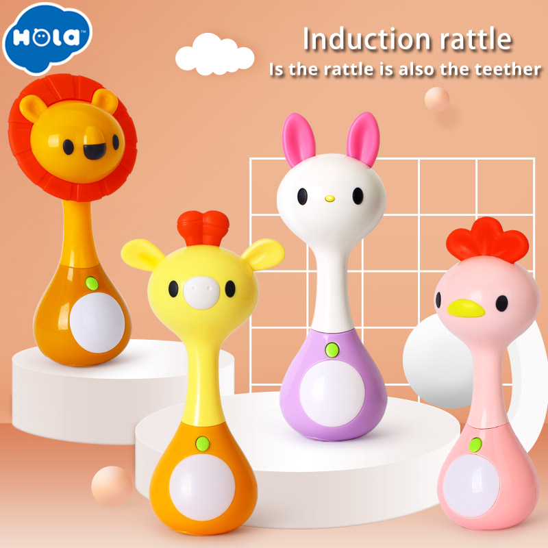 HOLA 3134 Mini Rattle With Music/Light Animal Hand Bells Plush Toy & Baby Teething Toy