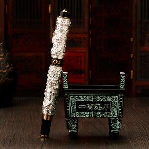 Image 2 - Jinhao ダブルドラゴン/スネークヴィンテージ豪華な万年筆ペン/ペンホルダーフルメタル彫刻エンボス大型ギフトペンコレクション