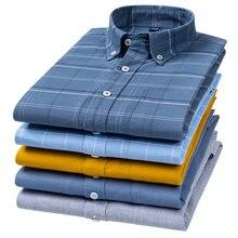 6xl 100% algodão puro oxford camisas xadrez listrado masculino bolso casual de alta qualidade camisa manga longa para homens botão acima da camisa