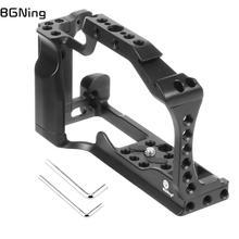 Bgning dslr câmera gaiola para canon eos m50 m5 lidar com aperto conjunto com 1/4 3/8 furos de montagem sapata fria para vlogging monitor microfone