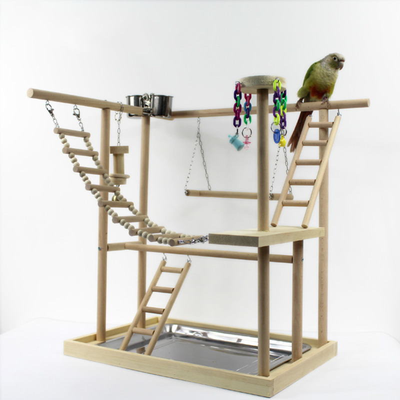 48*33*53cm Wood Parrot Playground Bird Perch With Ladders Feeder Parrot Bite Toys Bird Frame Stand Cage Bird Suspension Bridge