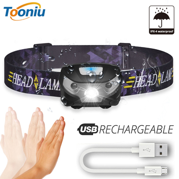 Mała latarka czołowa led na akumulator czujnik ruchu ciała lampka czołowa led na rower lampa latarka turystyczna zewnętrzna z portem USB