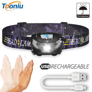 LED Headlamp Camping-Flashlight Body-Motion-Sensor Outdoor Rechargeable Mini with Usb-Port