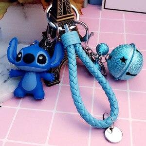 Image 5 - Cartoon Lilo und Stitch Schlüsselanhänger LED Stich Puppe Schlüssel Ring Sound Flash Seil Glocke Rucksack Pandent Geschenke