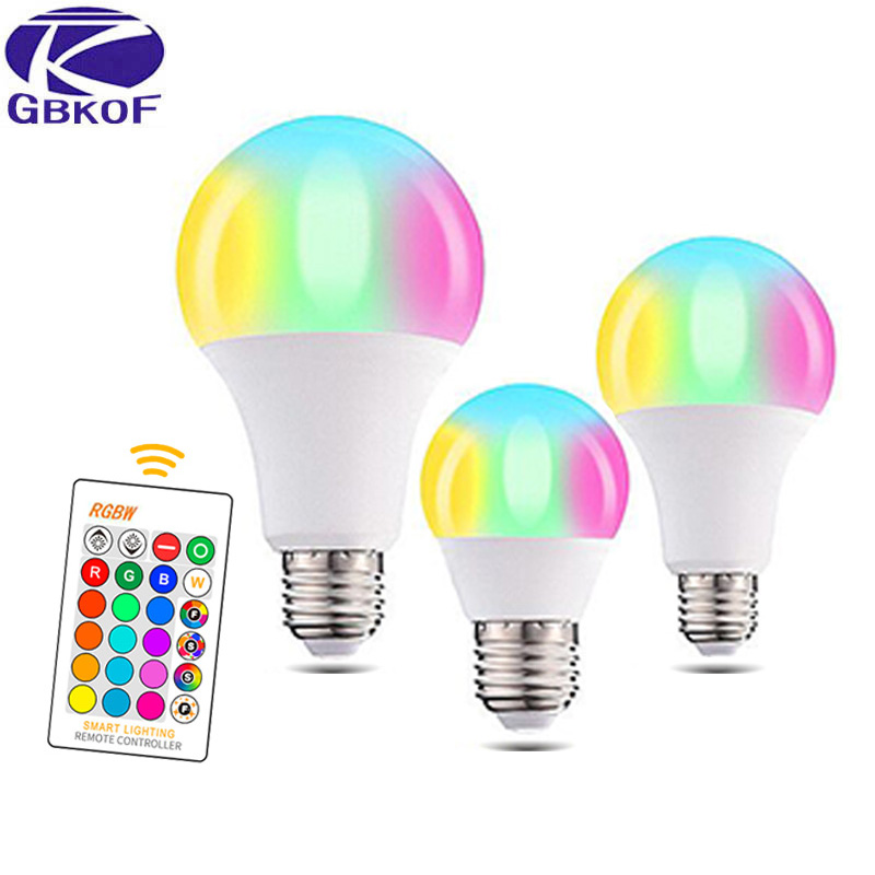 GBKOF 3W 5W 7W 10W 12W 15W RGB LED Bulb E27 E14 AC110V 220V LED Lamp With Remote Control Dimmer Holiday Colorful Night Lighting