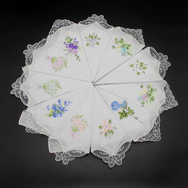 5 шт женские хлопковые носовые платки Цветочные вышитые бабочки кружева Карманный платок AXYD