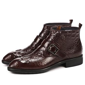 Skórzane buty za kostkę skóra krokodyla buty skórzane Martin buty męskie spiczaste buty krótkie buty ręcznie robione buty tanie i dobre opinie NoEnName_Null Podstawowe CN (pochodzenie) RUBBER Podkolanówki Stałe Prawdziwej skóry Szpiczasty nosek Zima Mieszkanie (≤1cm)
