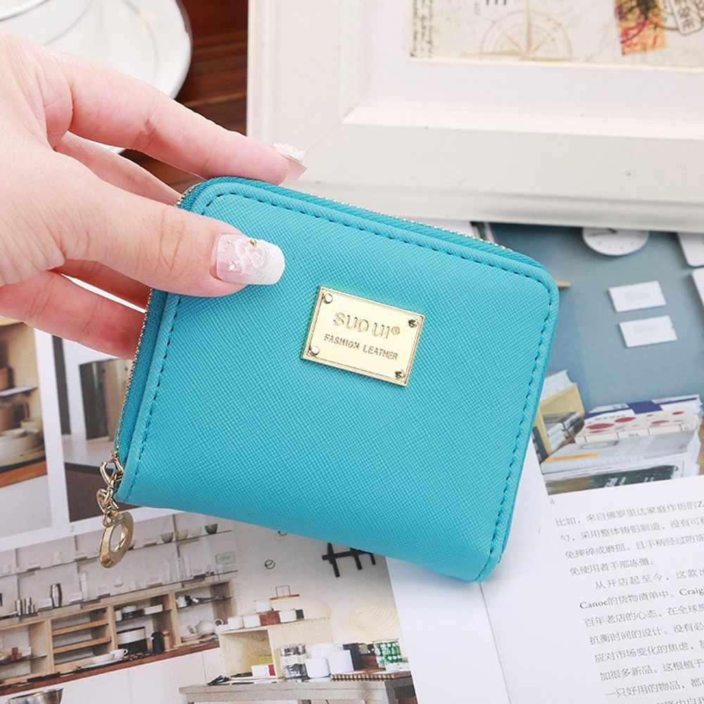 Pequena carteira de couro das mulheres bolsa de moeda mini carteira titular do cartão zip coin purse carteiras curtas embreagem bolsa de dinheiro das mulheres