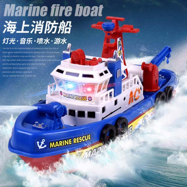 Brand New Children Fun Creative Electric Sea Water Spouting Firefighting Ship Model Aquatic Toy CHILDREN'S Electric Toys