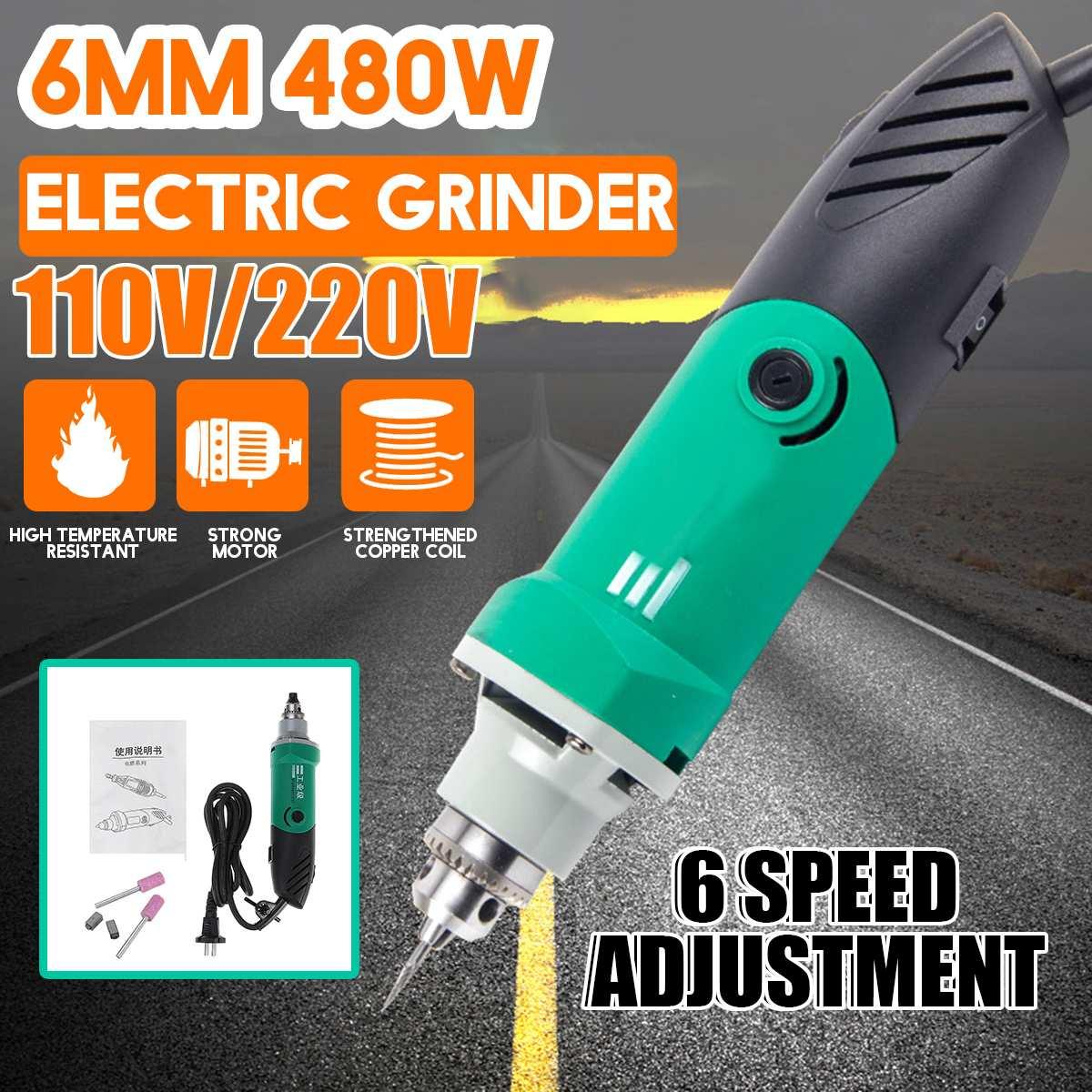 Mini outil de gravure de perceuse électrique 480W avec 6 outils de polissage rotatifs de graveur de Machine de forage de travail des métaux à vitesse Variable
