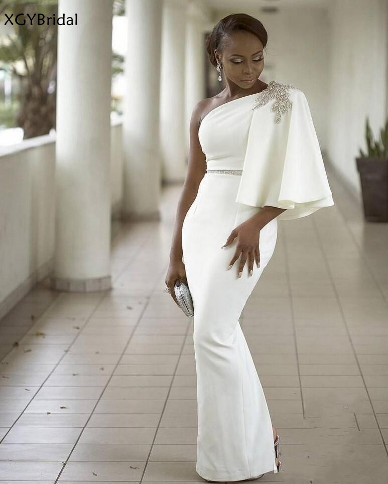 New Arrival White Evening Dresses 2021 One Shoulder Half Sleeves Mermaid African Dubai Party dresses women evening Robe de soire