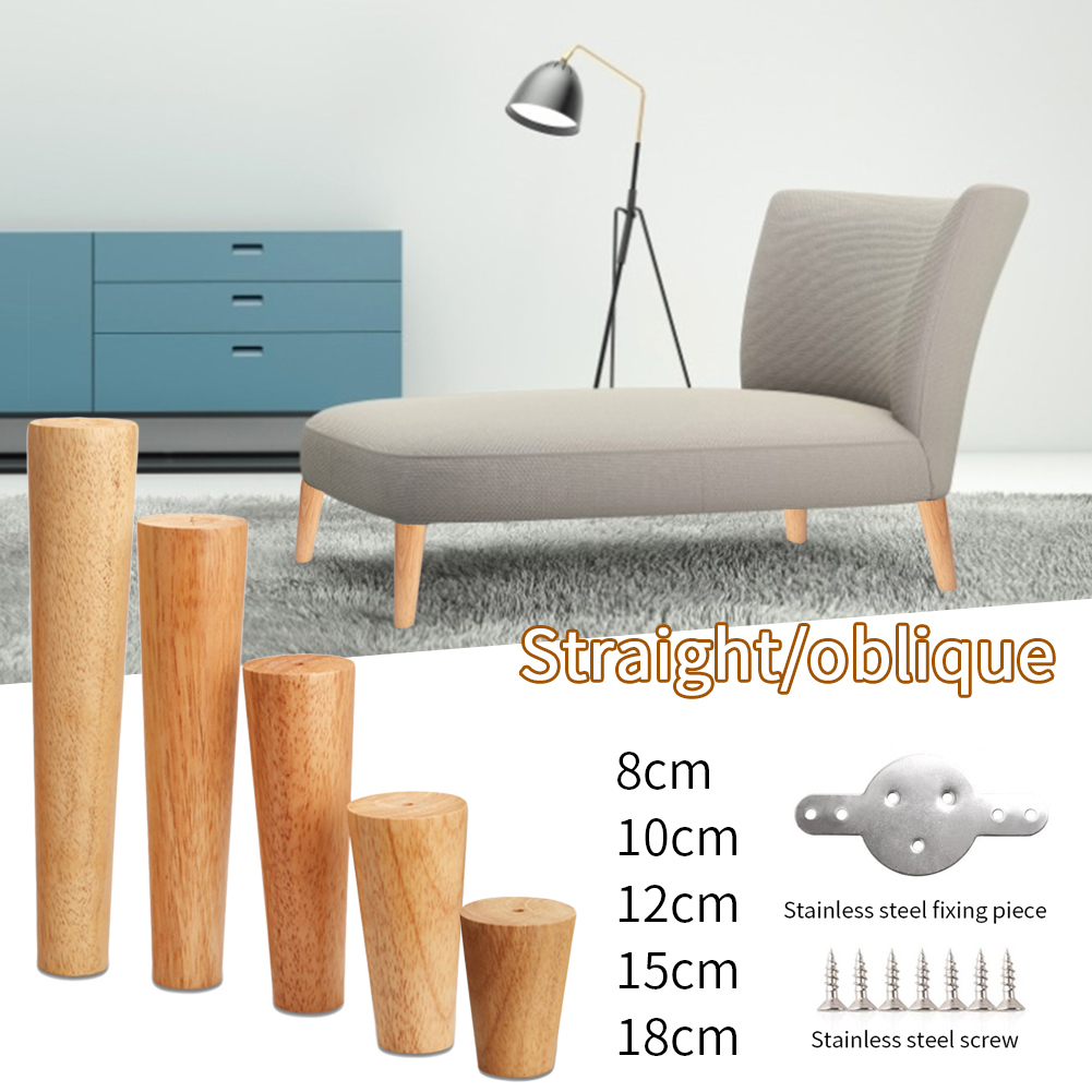 Oak Solid Wooden Sofa Leg Feet Tilted Coffee Table Furniture Level Feet With Metal Plate Cabinet Leg Multisize For Cabinet Couch