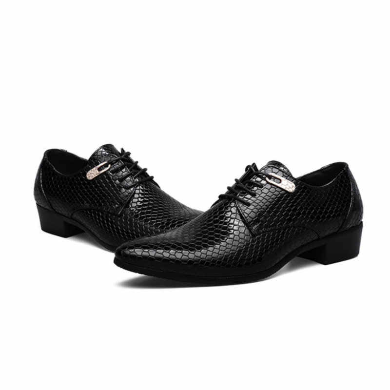 Qwedf Mới Bắt Chước Loài Rắn Da Nam Oxfords Phối Ren Cho Công Sở Thương Hiệu Cưới Chấm Bi Đầm Giày Size Lớn ZY-11