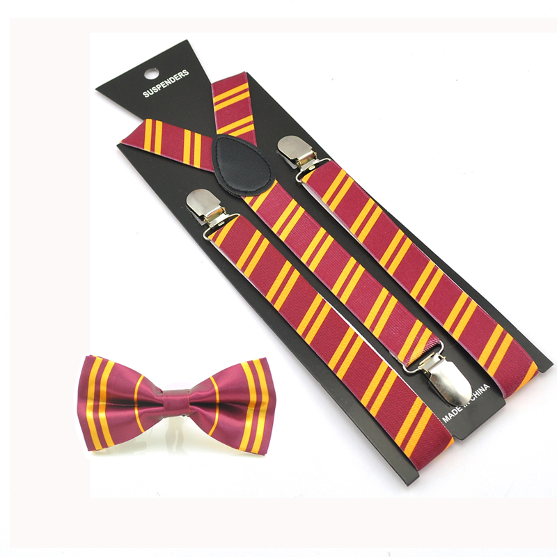 Burgundy Unisexs Bow tie /& Suspender Sets