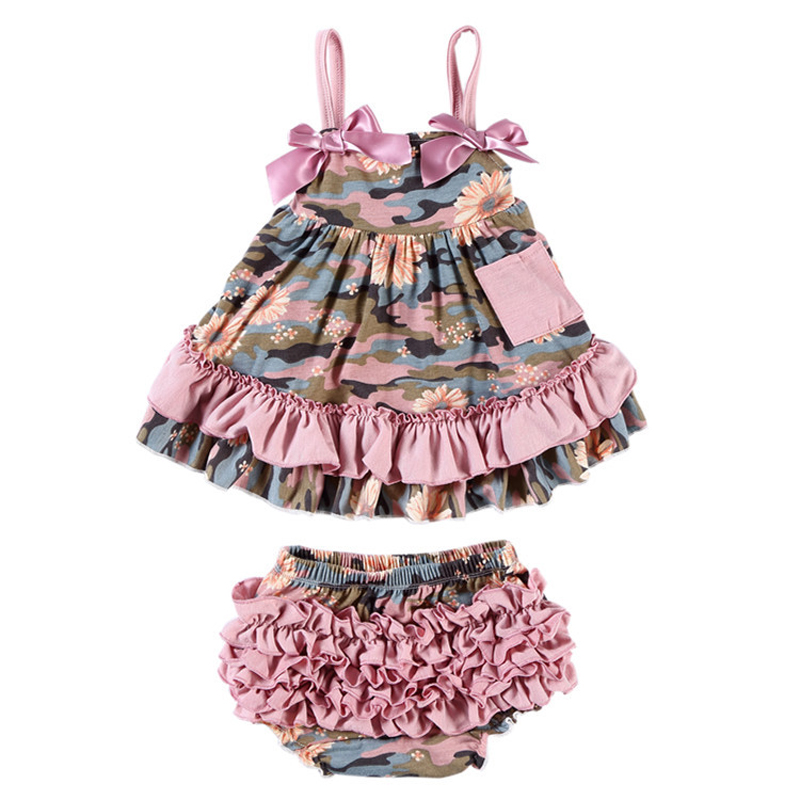New Baby Girl Clothes Baby Sets Cotton Sleeveless Toddler Infant Ruffle Tops + Shorts Overall Floral Clothes Set 3-24 month