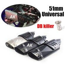 Universal 38 51mm Akrapovicc Motorcycle Exhaust Escape Moto Muffler Motocross Pipe Cover AK Sticker For YZF Bike CBR1000 Z800 R6