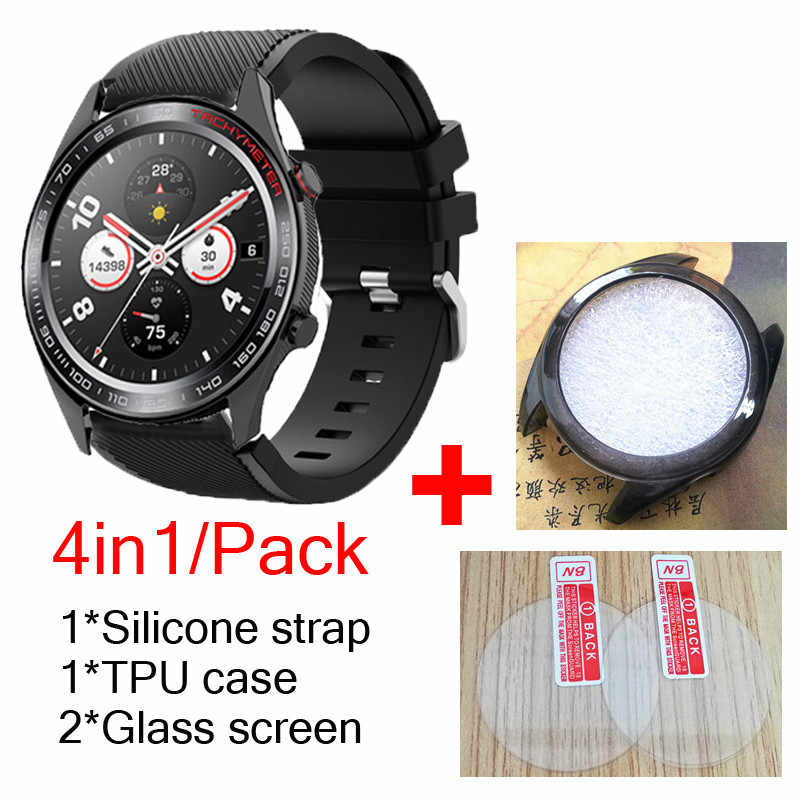1 paquete de 4 bandas de silicona para Huawei Honor watch Magic Dream strap, fundas de TPU shell soft watch muñequera + protector de pantalla de cristal