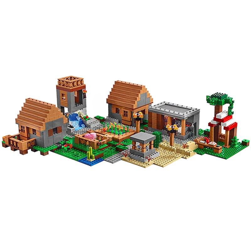 Bloki Mój Świat gry wsi z 11 dane 1673 sztuk modelu klocki zabawki dla dzieci kompatybilny blok zabawki w Klocki od Zabawki i hobby na  Grupa 1
